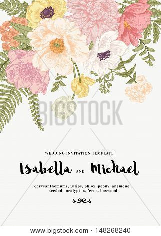 Elegant wedding invitation with summer flowers in vintage style. Chrysanthemums tulips phlox peony anemone ferns. Pastel colors. Vector illustration.