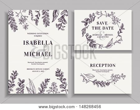 Vintage wedding set with greenery. Wedding invitation save the date reception card. Vector illustration. Boxwood seeded eucalyptus. Wreath with leaves and twigs. Engraving style. Black and white.