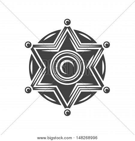 Sheriff badge. Black icon logo element vector illustration isolated on white background