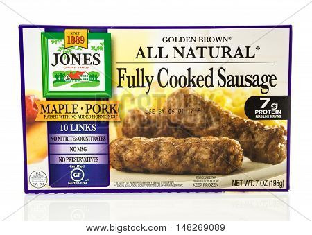 Winneconne WI - 8 August 2016: Box of Jones fully cooked sausage links on an isolated background.