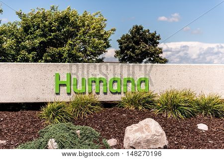 Depere WI - 14 August 2016: Sign of Humana health insurance company which is based in Louisville Kentucky.