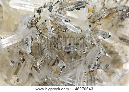 Druze quartz and pyrite raw natural mineral