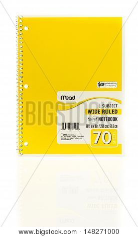 Winneconne WI - 20 August 2016: Mead spiral yellow notebook on an isolated background.