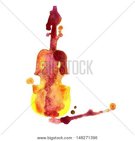 Violin detailed sketch, colored violin on paint splash background. Isolated on white background