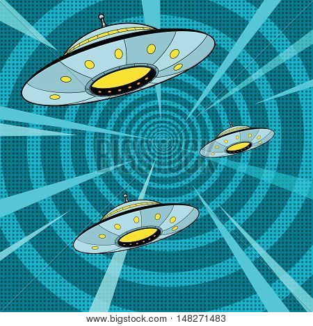 Space attack UFO, pop art retro vector illustration. The alien ships quickly fly