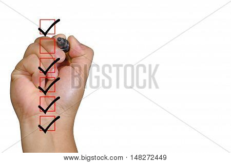 Human Hand In Process To Complete All Checklist Boxes  And Copy Space Area.