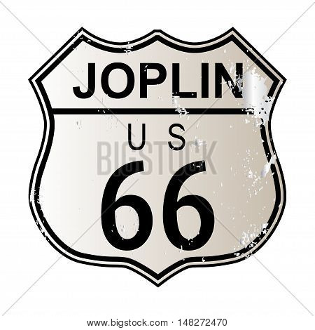 Joplin Route 66 traffic sign over a white background and the legend ROUTE US 66