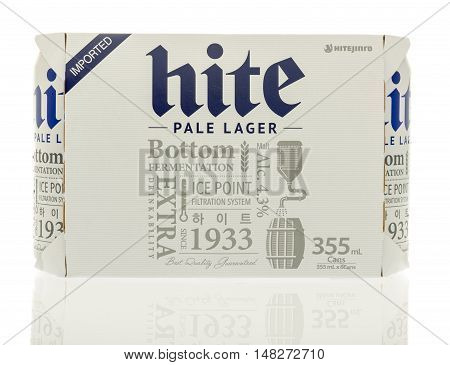 Winneconne WI - 30 August 2016: Six pack of Hite beer from South Korea on an isolated background.