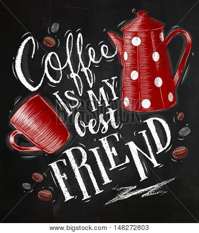 Poster with cup and coffee pot of coffee lettering its coffee time drawing on chalkboard background