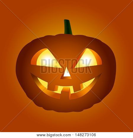 Halloween pumpkin with glowing eyes on orange-red background.