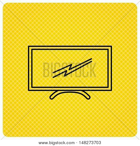 Lcd tv icon. Led monitor sign. Widescreen display symbol. Linear icon on orange background. Vector