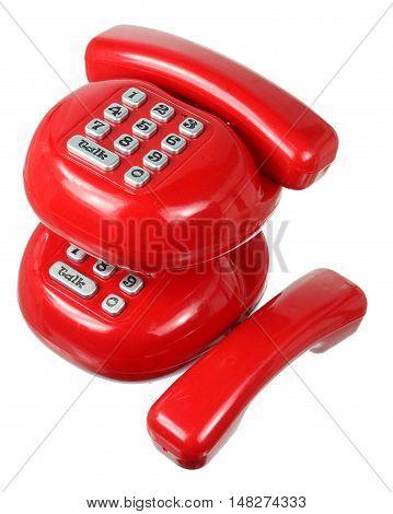 Toy Plastic Phones on Isolated White Background