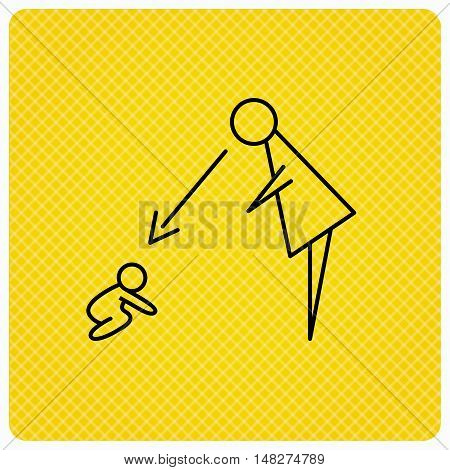 Under nanny supervision icon. Babysitting care sign. Mother watching baby symbol. Linear icon on orange background. Vector
