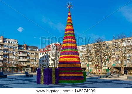 Christmas tree in the usual modern residential area in Wroclaw, Poland