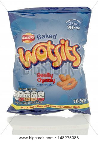 Winneconne WI - 23 July 2016: Bag of Walkers Wotsits really cheesy chips on an isolated background.