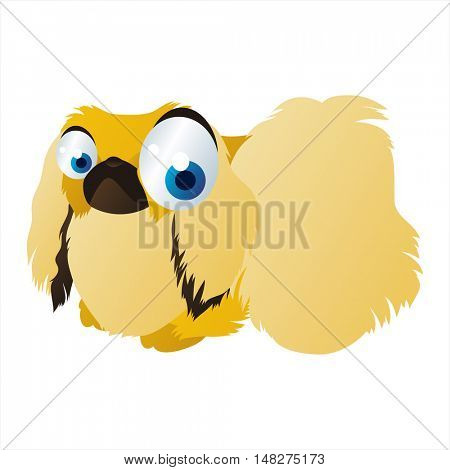 vector funny image of cute bright color animal. Pekingese dog