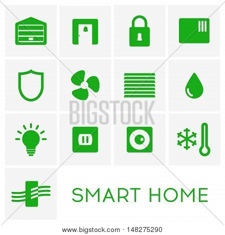 Smart home set. Air conditioning and purifiing, cameras and locks, garage door, door bell, window shades. Flat design vector illustration. Isolated on white background