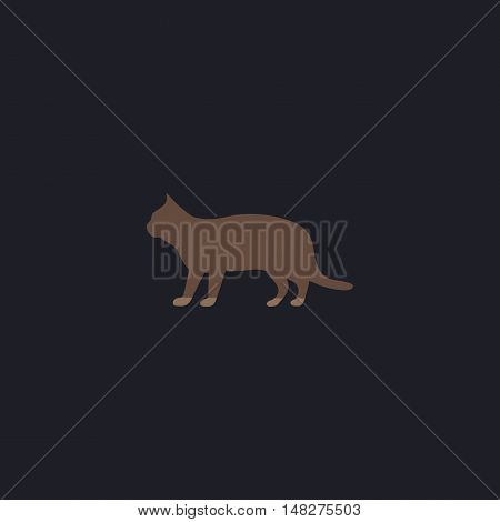 pussycat Color vector icon on dark background