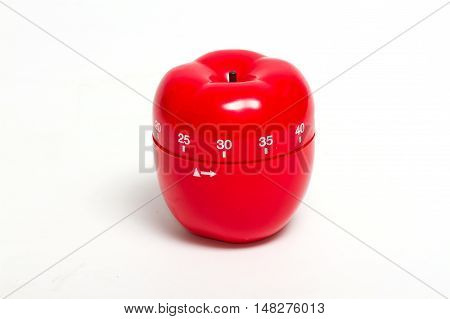 Cooking timer. red apple timer isolate on white