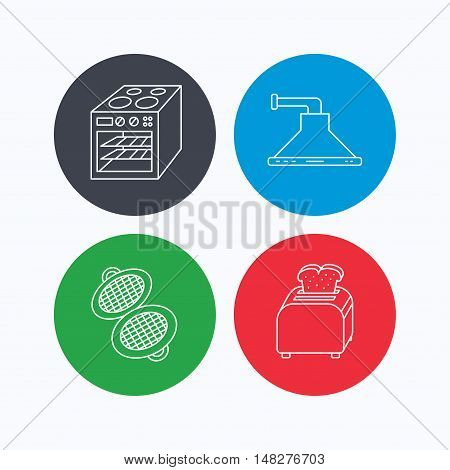 Oven, toaster and waffle-iron icons. Kitchen hood linear sign. Linear icons on colored buttons. Flat web symbols. Vector
