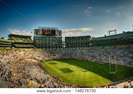 Green Bay WI - 31 July 2016: Inside Lambeau Field fans start coming in for a game.