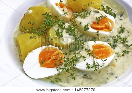 boiled eggs in mustard sauce with potatoes and fresh cress