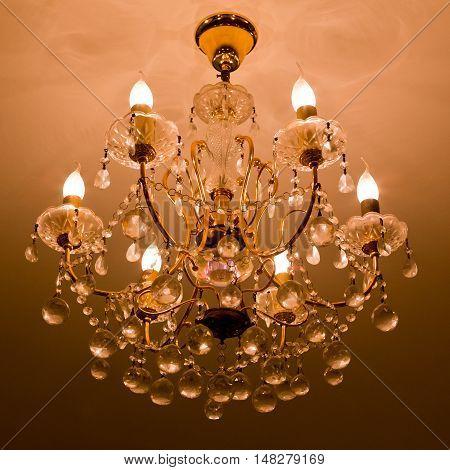 Beautiful elegant crystal chandelier in hotel at Thailand