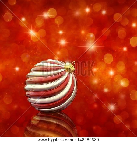 Christmas decoration bauble on red background , 3d illustration