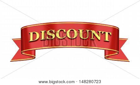 Red and gold promotional banner , Discount , 3d illustration