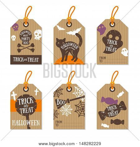 Set of Retro Halloween Gift Tags. Vector Illustration.