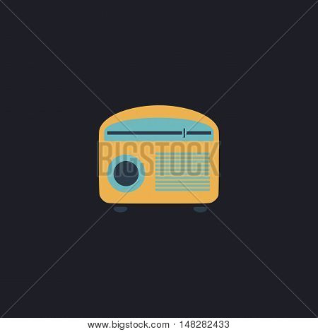 retro radio Color vector icon on dark background