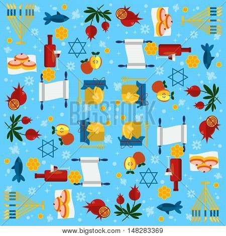 Jewish new year holiday seamless pattern Rosh Hashanah Jewish. Shana tova Rosh Hashanah vector greeting card design for Jewish New Year. Rosh Hashanah celebration hashanah shana tova symbols