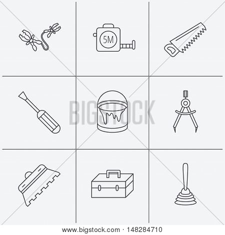 Screwdriver, plunger and repair toolbox icons. Trowel for tile, bucket of paint linear signs. Measurement, battery terminal icons. Linear icons on white background. Vector