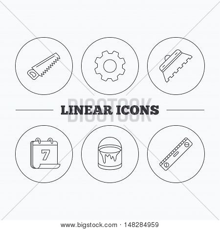 Trowel for tile, saw and level measure icons. Bucket of paint linear sign. Flat cogwheel and calendar symbols. Linear icons in circle buttons. Vector