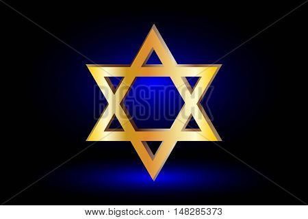 Star of david ,Jewish star, Star of David on a blue background