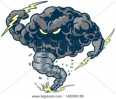 Vector cartoon clip art illustration of a tough thundercloud or storm cloud mascot with lightning bolts and a tornado funnel kicking up dust and debris.