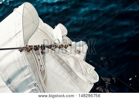 Top view staysail carbines on the bow, staysail had prepared for vira