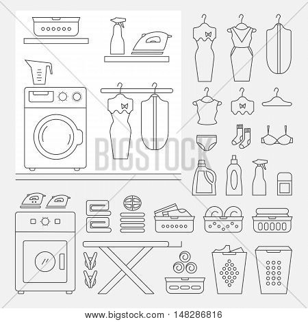 Elements for laundry interior and a large set of laundry icons. Laundry room interior vector. Laundry room interior element isolated.