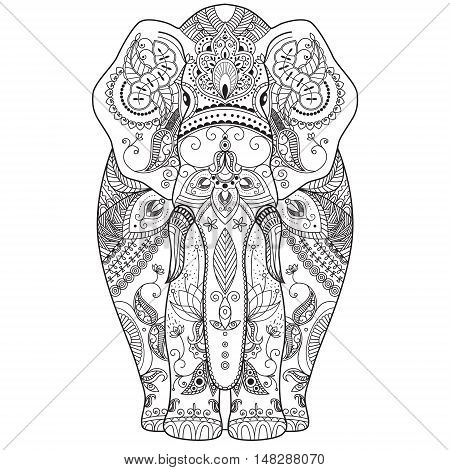 Vector illustration of an elephant with ethnic patterns. Use for print, t-shirts.