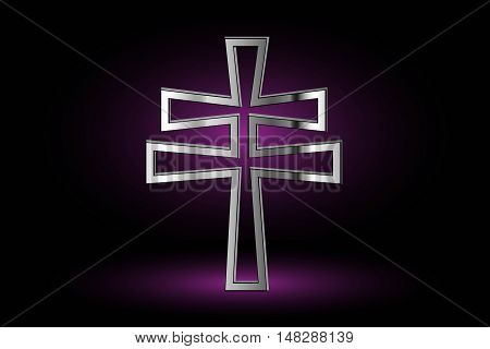 cross on a purple background ,double religious cross, Christian double cross
