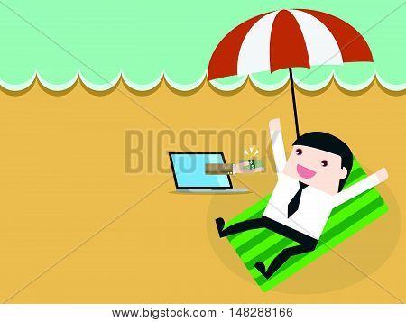 Happy Businessman Get Money From Online Business