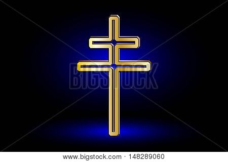 cross on a blue background, double religious cross ,Christian double cross