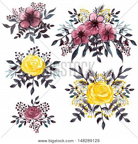 Set of Watercolor Dark Bouquets with Burgundy and Yellow Flowers and Dark Leaves