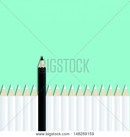 Black Pencil Standing Out From White Pencil