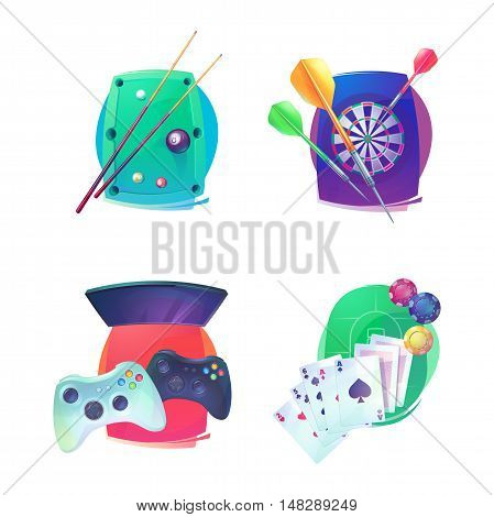 Billiard and darts, video game and poker emblem. Indoor sport equipment like throw missiles for arraz and dartboard, joystick with buttons for console and TV, cards with ace and cue with balls on table