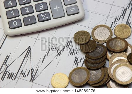 calculator coins. Dow Jones index. currency rates on Forex