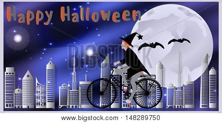 Vector Illustration Cards For Happy Halloween. Witch Riding A Bicycle, Followed By Flying Bats Flyin