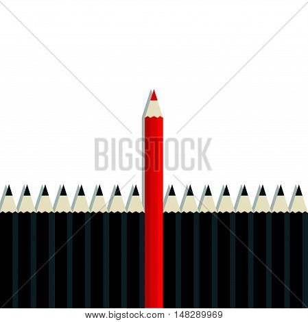 Red Pencil Standing Out From Black Pencil On White Background