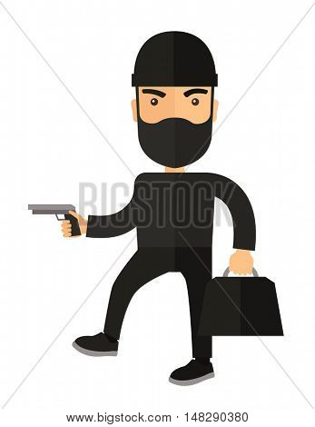 A man wearing black with mask to disguise. Criminal, illegal concept. A Contemporary style. flat design illustration isolated white background. Vertical layout.
