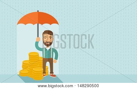 A businessman with beard standing holding umbrella protecting his money to investments, money risk management. Saving money for any storm problem will come. Business concept.A contemporary style with